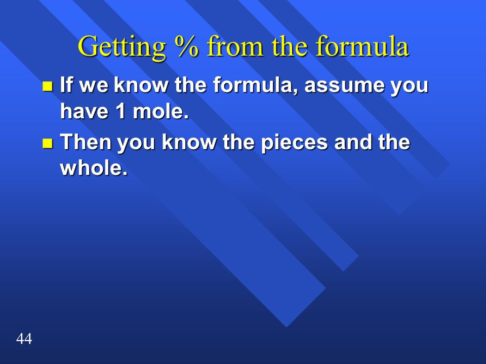 Getting % from the formula