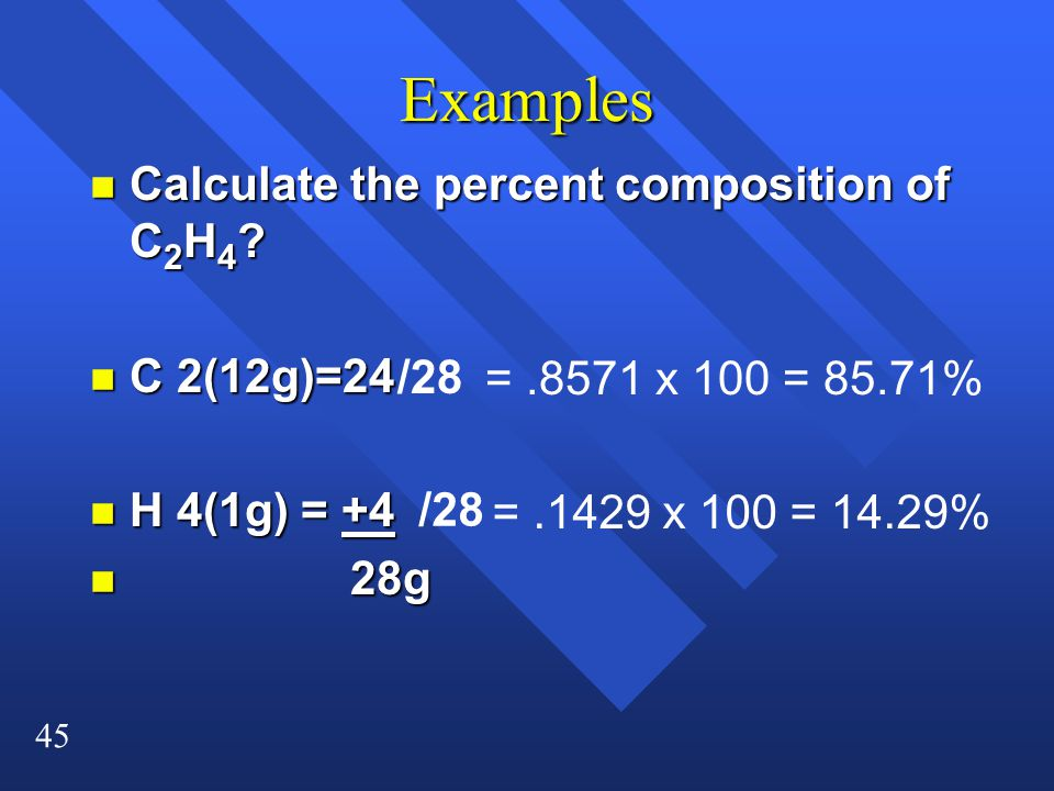 Examples Calculate the percent composition of C2H4 C 2(12g)=24