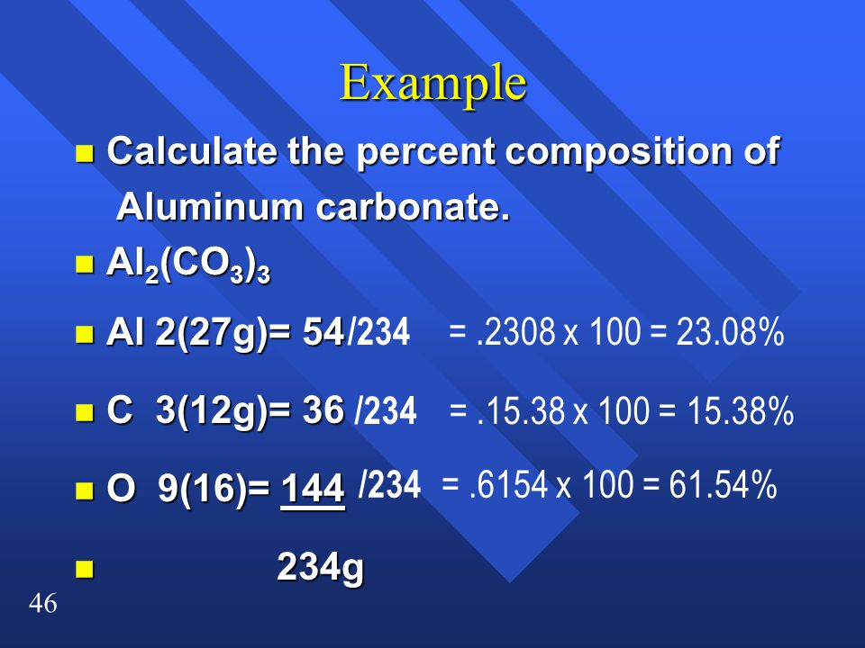 Example Calculate the percent composition of Aluminum carbonate.