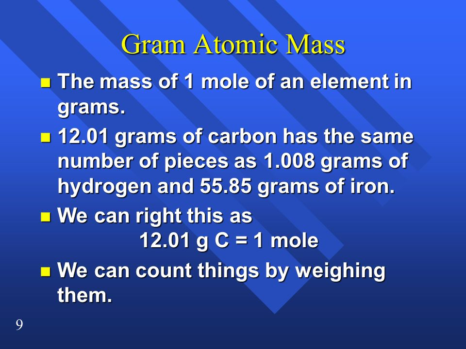 Gram Atomic Mass The mass of 1 mole of an element in grams.