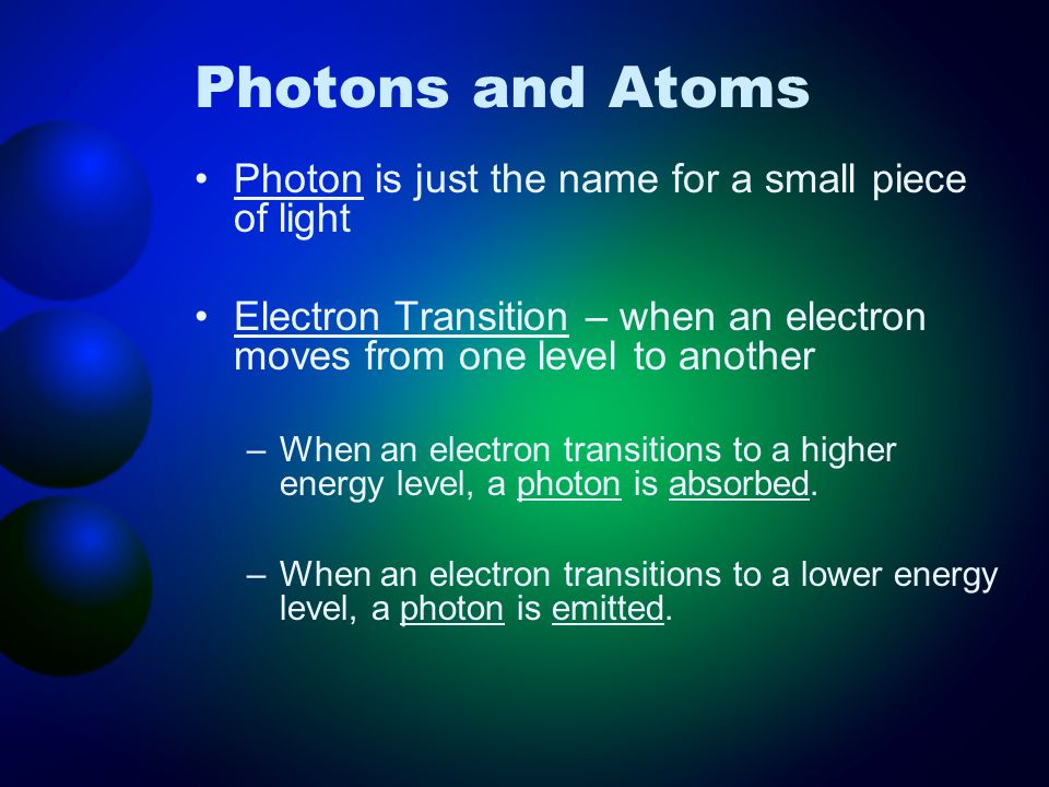 Photons and Atoms Photon is just the name for a small piece of light