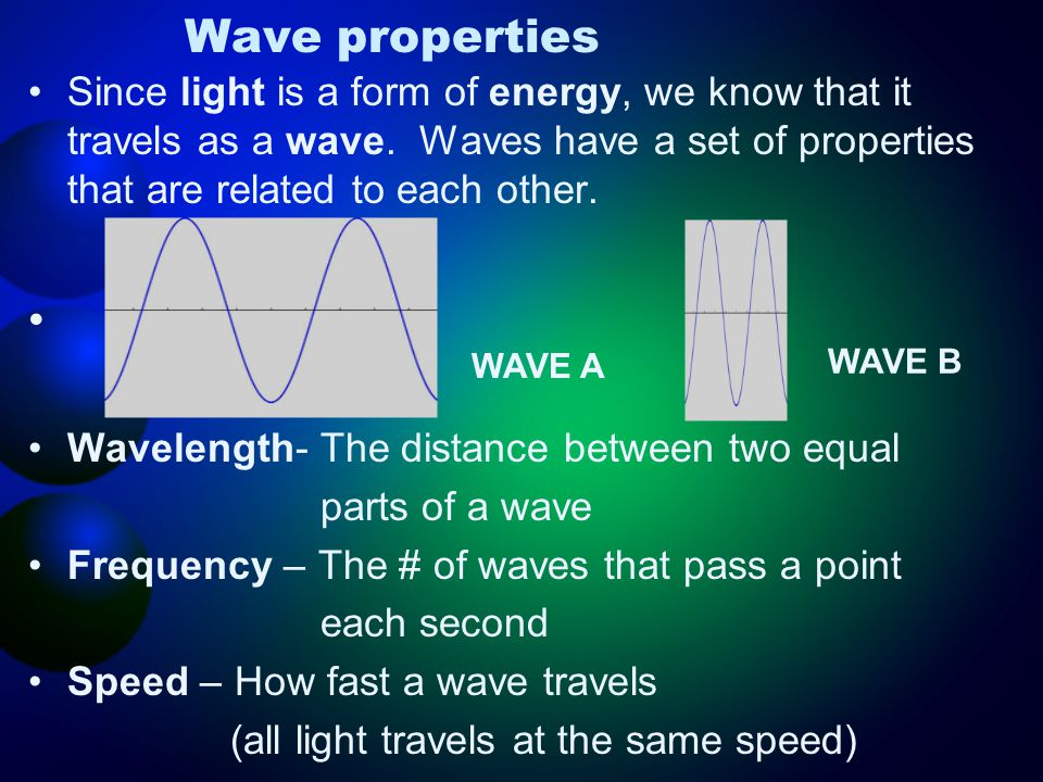 Wave properties Since light is a form of energy, we know that it travels as a wave. Waves have a set of properties that are related to each other.