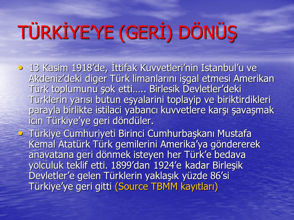 TÜRKİYE'YE (GERİ) DÖNÜŞ