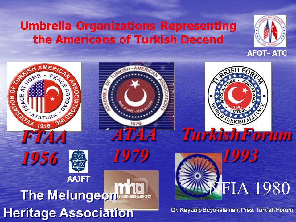 Umbrella Organizations Representing the Americans of Turkish Decend