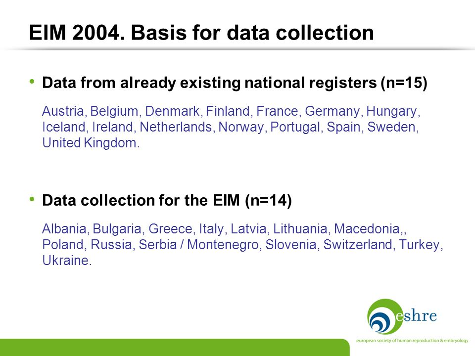 EIM 2004. Basis for data collection