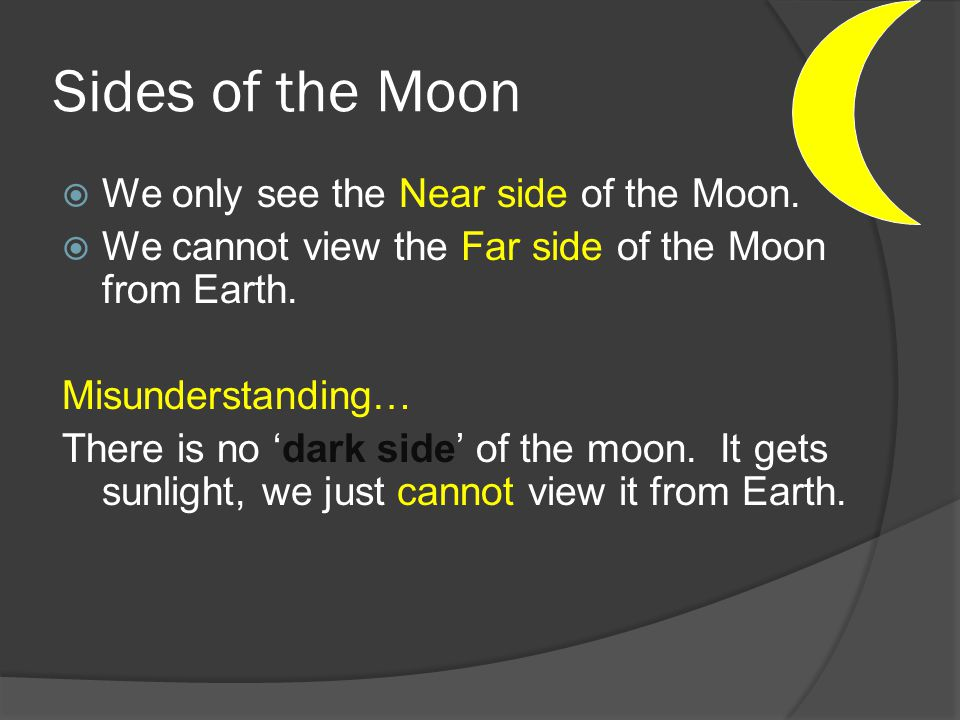 Sides of the Moon We only see the Near side of the Moon.