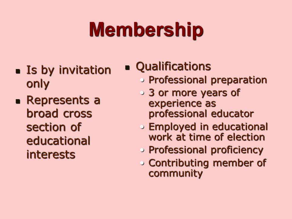 Membership Qualifications Is by invitation only