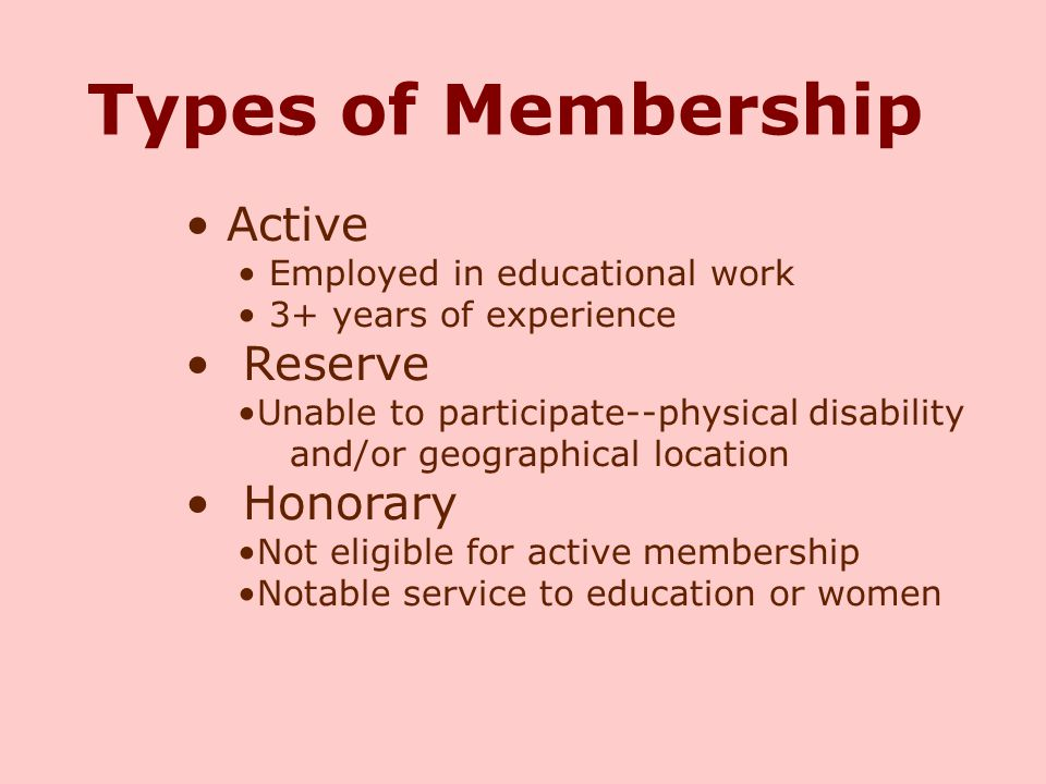 Types of Membership Active Reserve Honorary