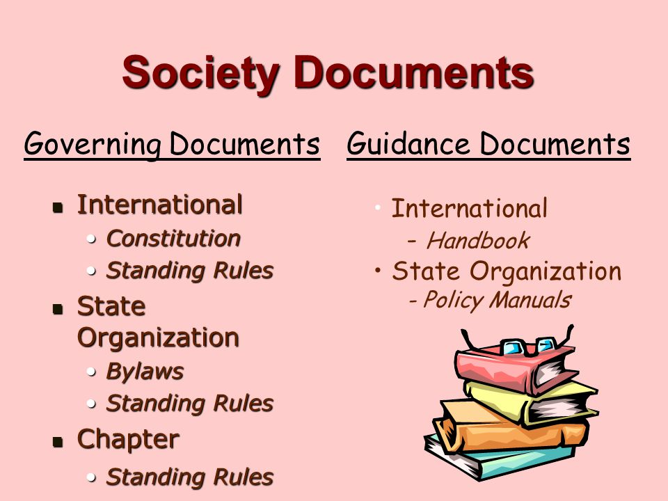 Society Documents Governing Documents Guidance Documents International
