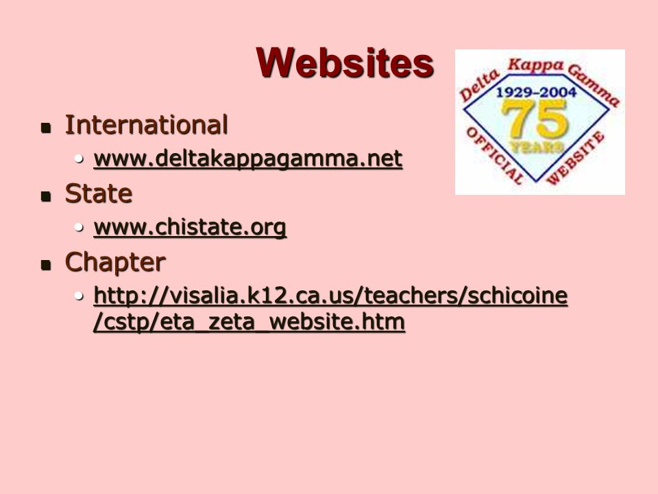 Websites International State Chapter www.deltakappagamma.net