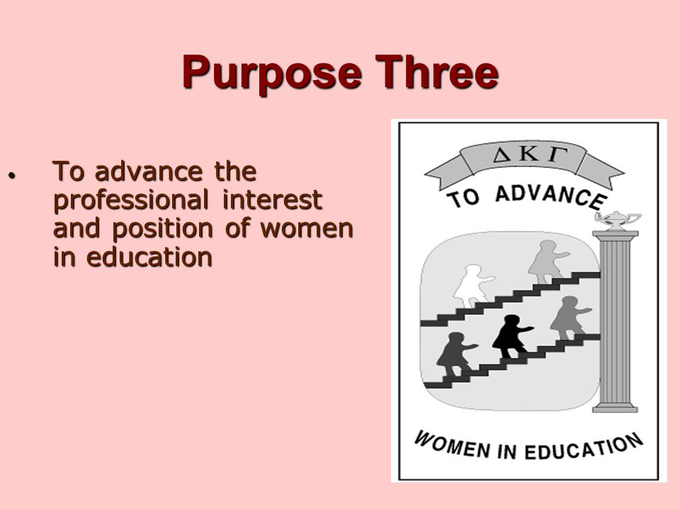 Purpose Three To advance the professional interest and position of women in education