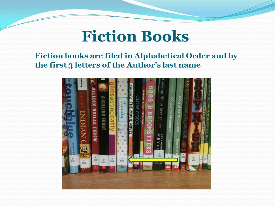 Fiction Books Fiction books are filed in Alphabetical Order and by the first 3 letters of the Author's last name.