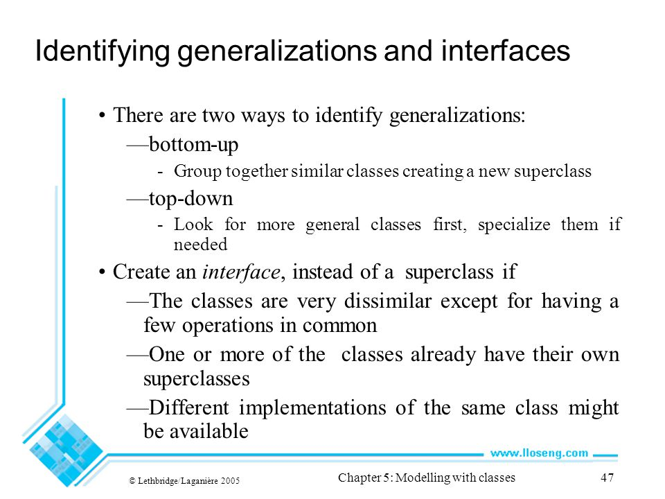 Identifying generalizations and interfaces