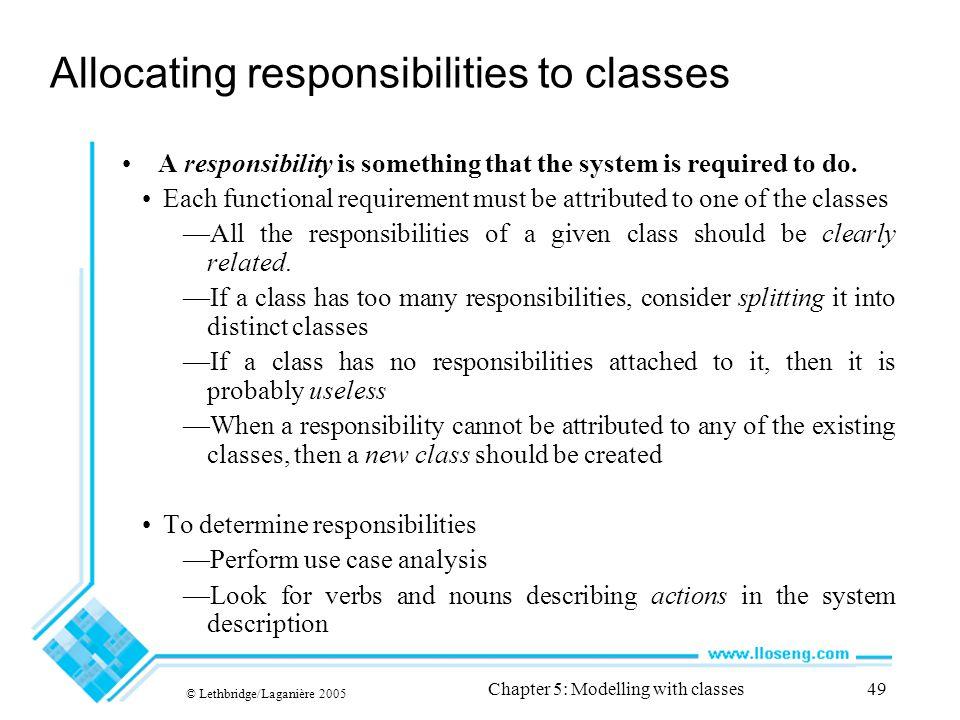 Allocating responsibilities to classes