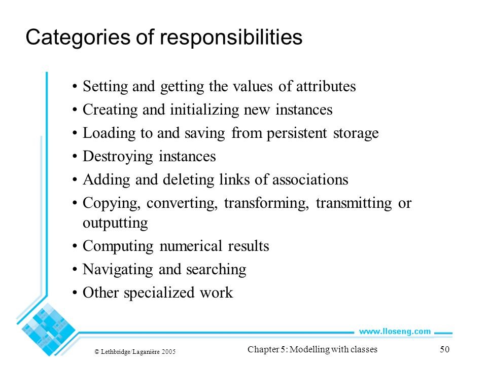 Categories of responsibilities