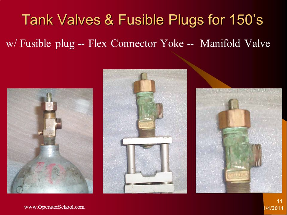 Tank Valves & Fusible Plugs for 150's