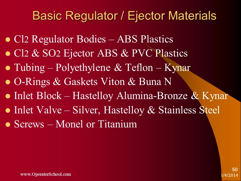 Basic Regulator / Ejector Materials