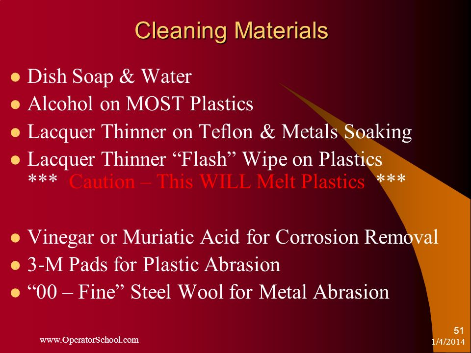 Cleaning Materials Dish Soap & Water Alcohol on MOST Plastics