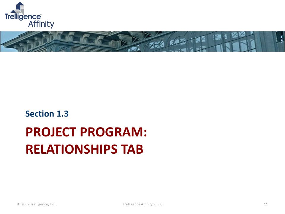 Project Program: Relationships Tab