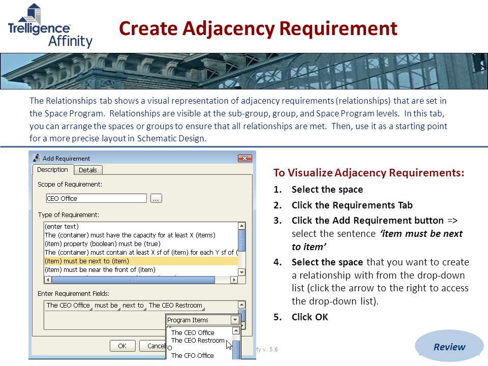 Create Adjacency Requirement