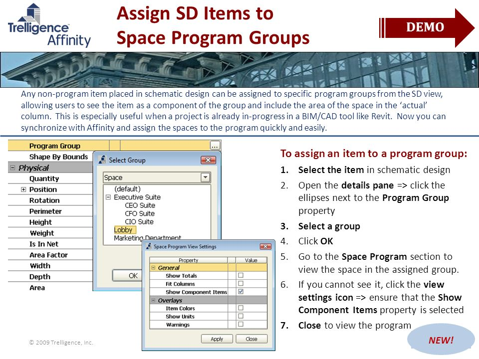 Assign SD Items to Space Program Groups