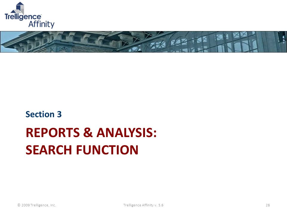 Reports & Analysis: Search function