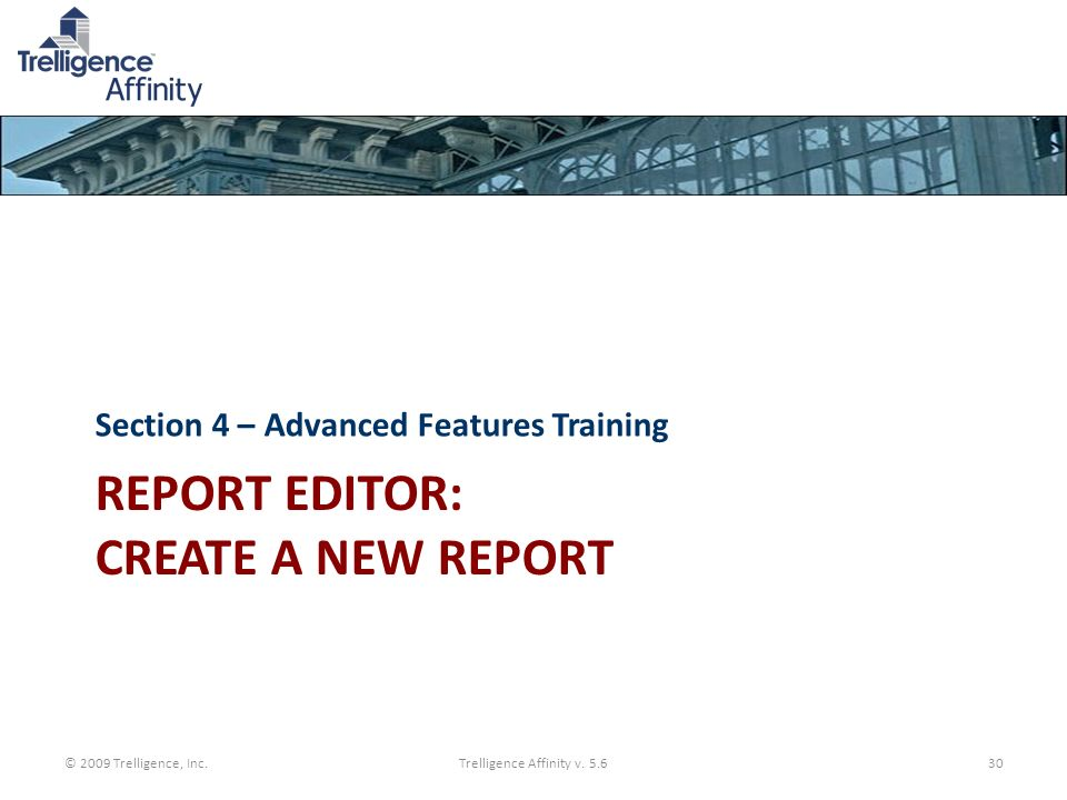 Report Editor: create a new report