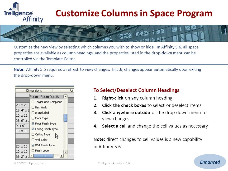 Customize Columns in Space Program