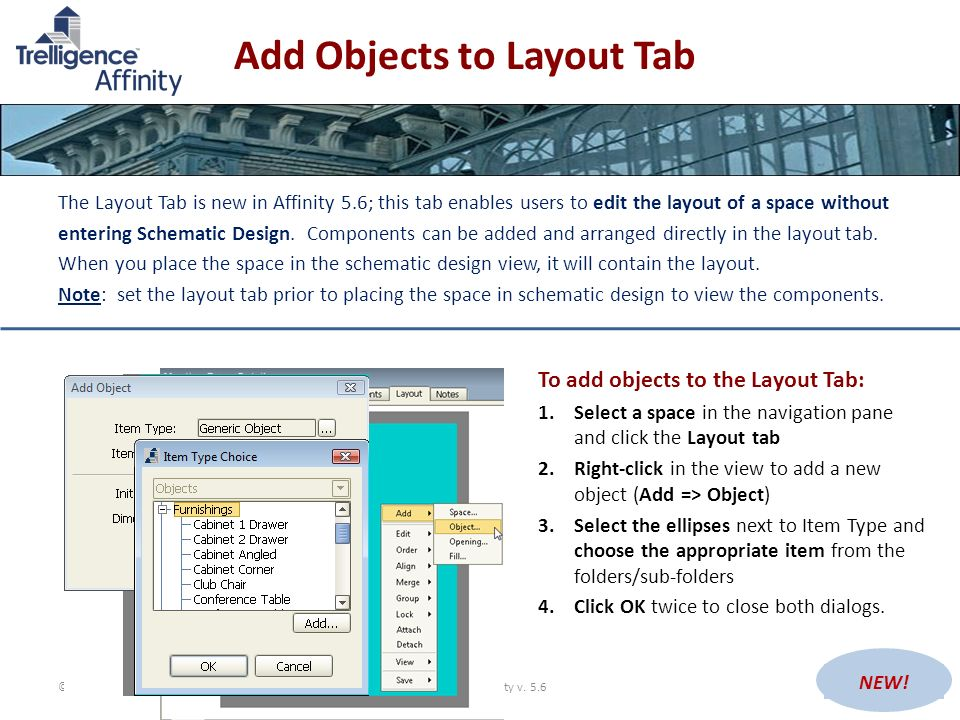 Add Objects to Layout Tab