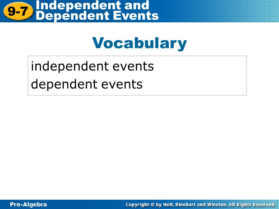 Vocabulary independent events dependent events