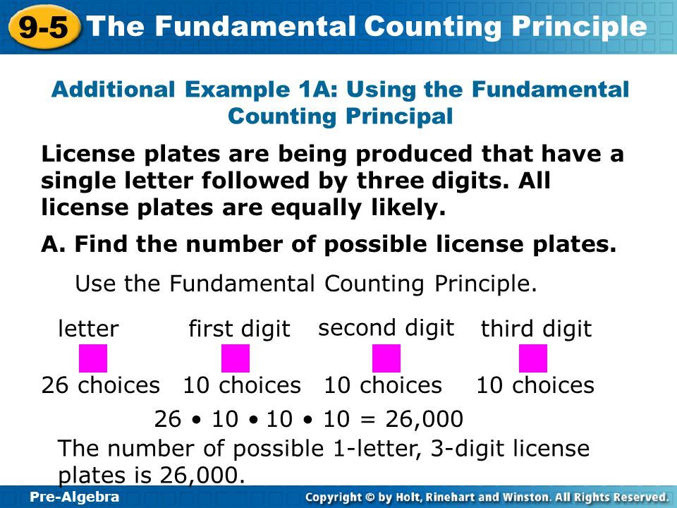 Additional Example 1A: Using the Fundamental Counting Principal