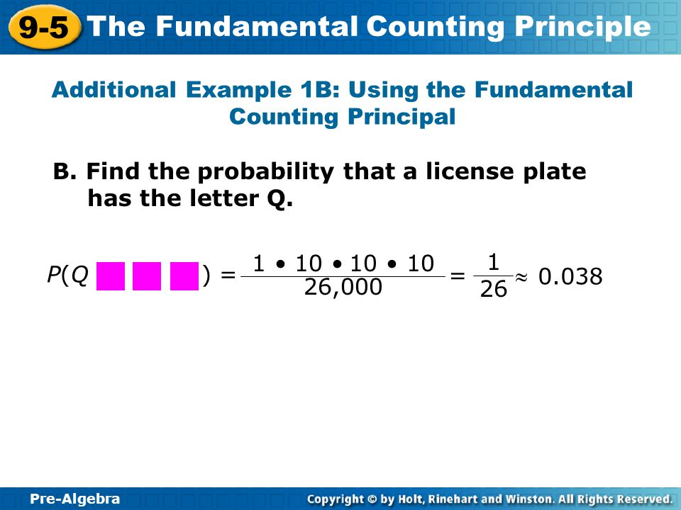 Additional Example 1B: Using the Fundamental Counting Principal