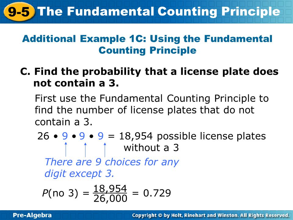 Additional Example 1C: Using the Fundamental Counting Principle