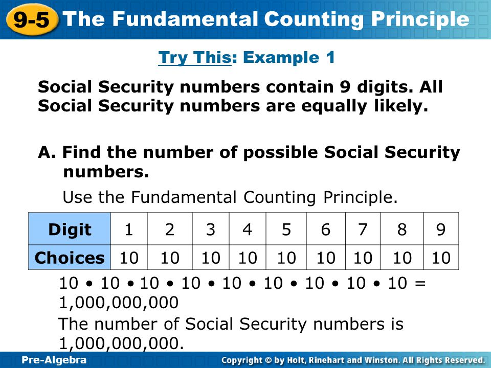 Try This: Example 1 Social Security numbers contain 9 digits. All Social Security numbers are equally likely.