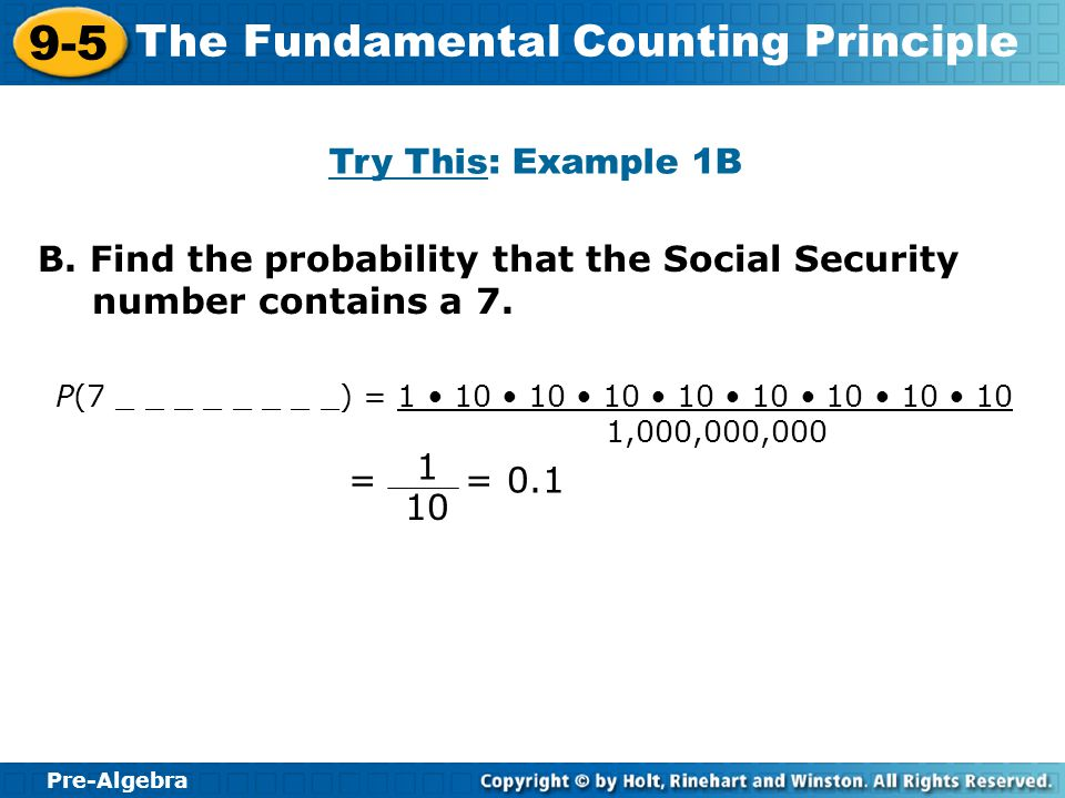 B. Find the probability that the Social Security number contains a 7.