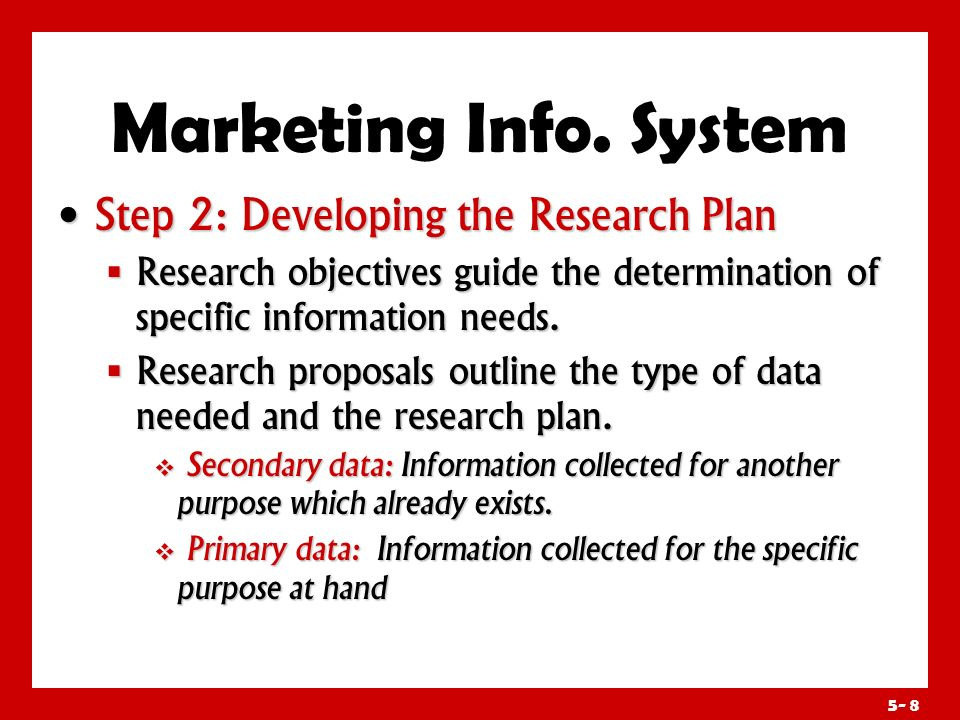 Marketing Info. System Step 2: Developing the Research Plan