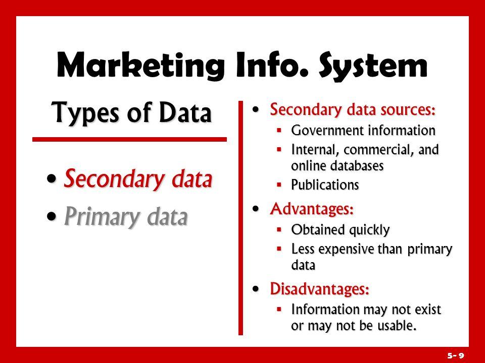Marketing Info. System Types of Data Secondary data Primary data