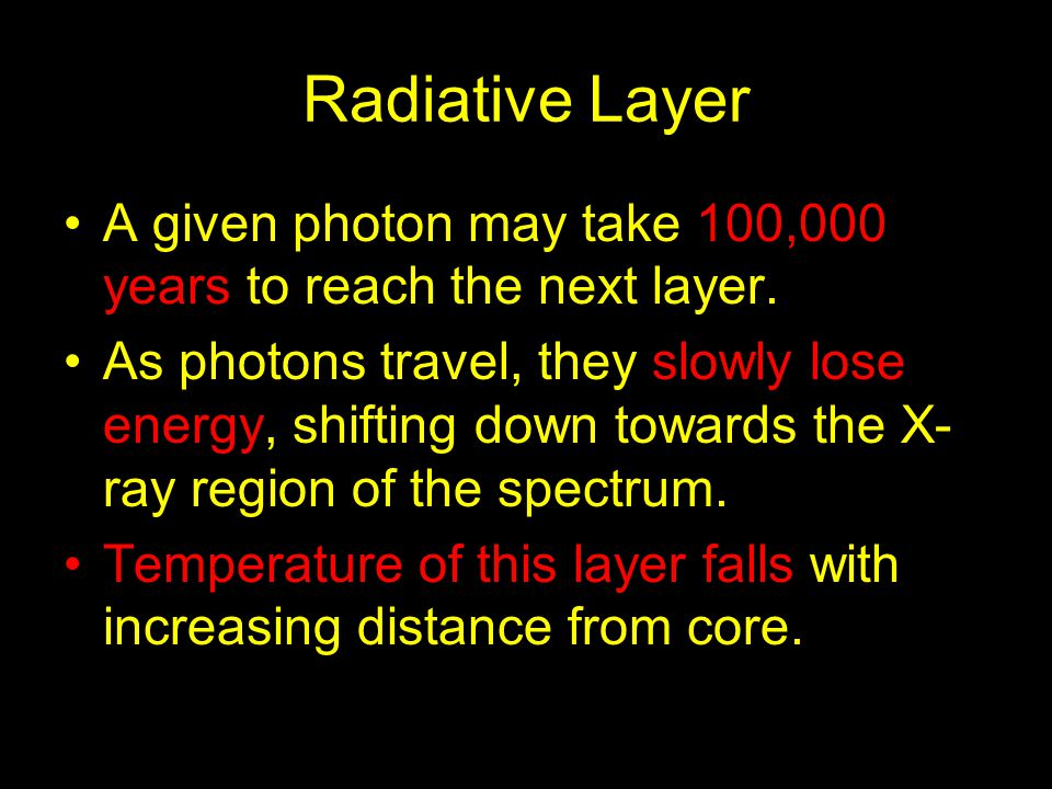 Radiative Layer A given photon may take 100,000 years to reach the next layer.