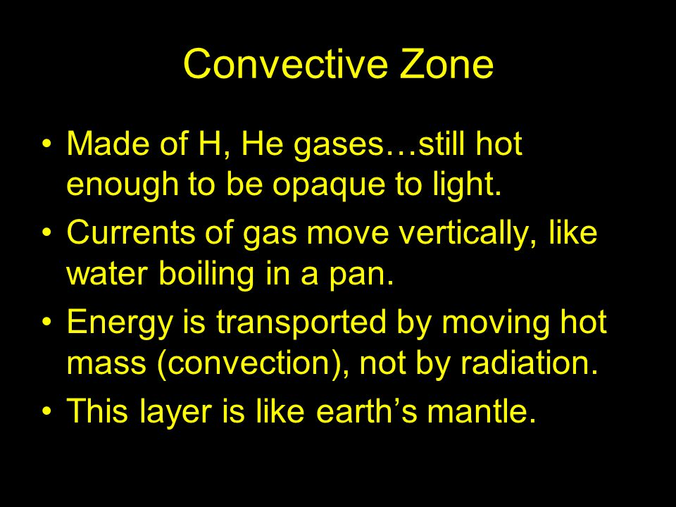 Convective Zone Made of H, He gases…still hot enough to be opaque to light. Currents of gas move vertically, like water boiling in a pan.