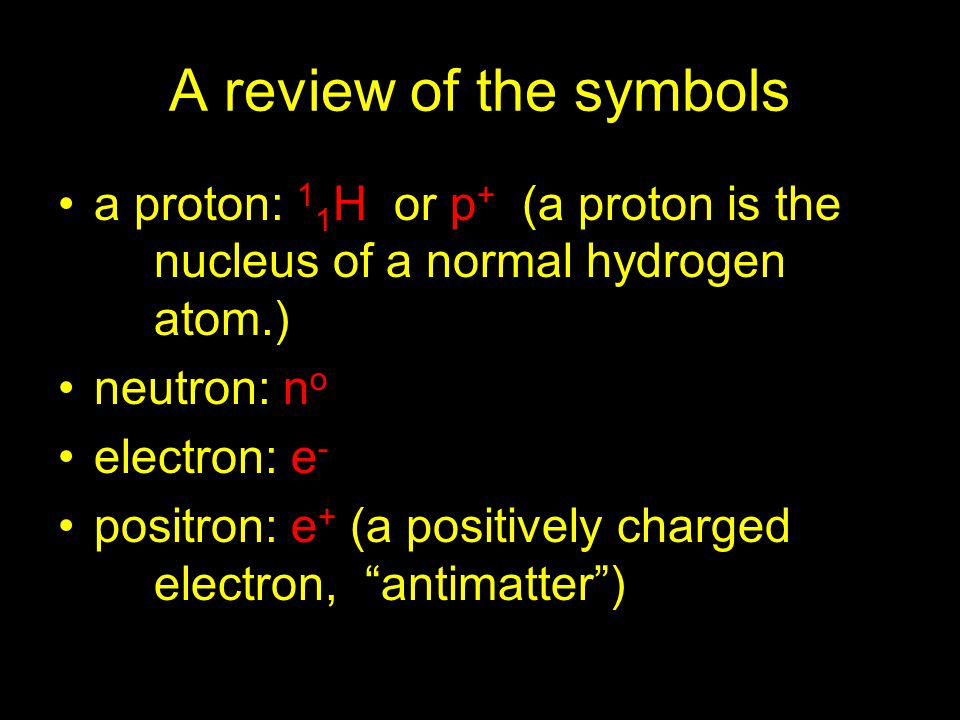 A review of the symbols a proton: 11H or p+ (a proton is the nucleus of a normal hydrogen atom.)