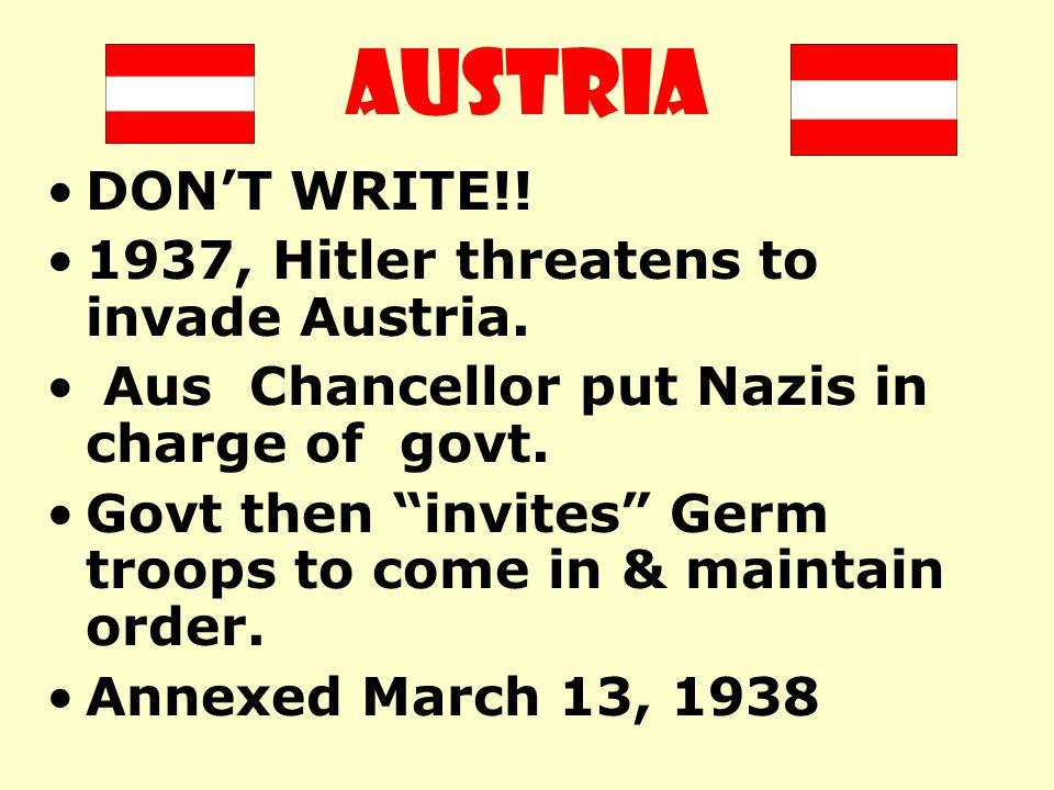 AUSTRIA DON'T WRITE!! 1937, Hitler threatens to invade Austria.