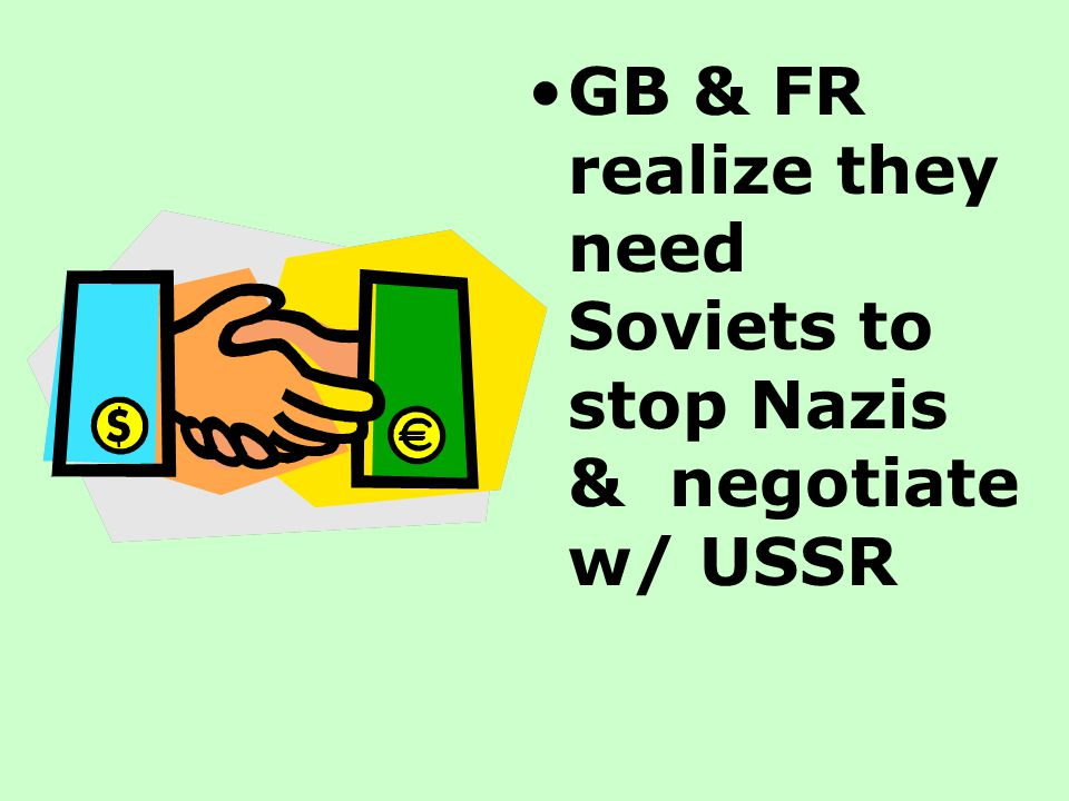 GB & FR realize they need Soviets to stop Nazis & negotiate w/ USSR