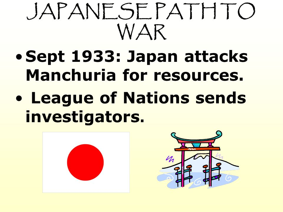 JAPANESE PATH TO WAR Sept 1933: Japan attacks Manchuria for resources.