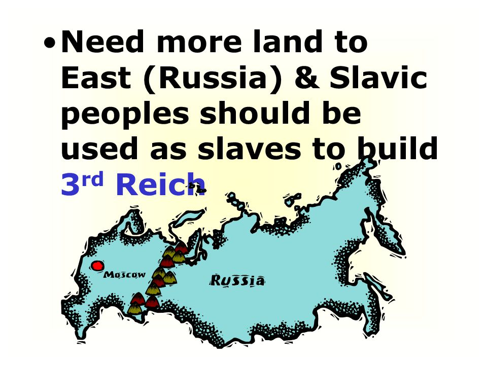 Need more land to East (Russia) & Slavic peoples should be used as slaves to build 3rd Reich