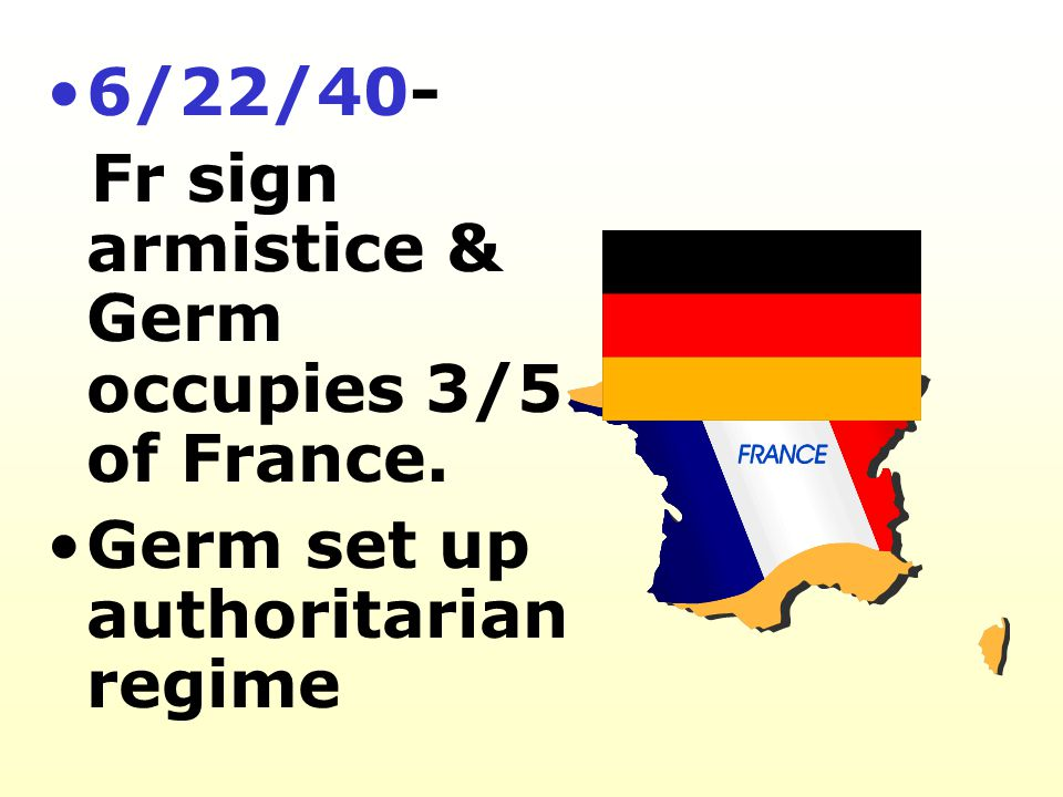 6/22/40- Fr sign armistice & Germ occupies 3/5 of France. Germ set up authoritarian regime