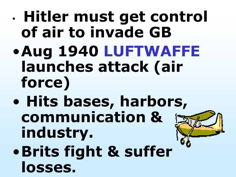 Aug 1940 LUFTWAFFE launches attack (air force)