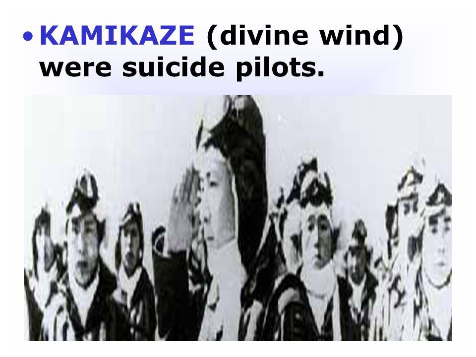 KAMIKAZE (divine wind) were suicide pilots.
