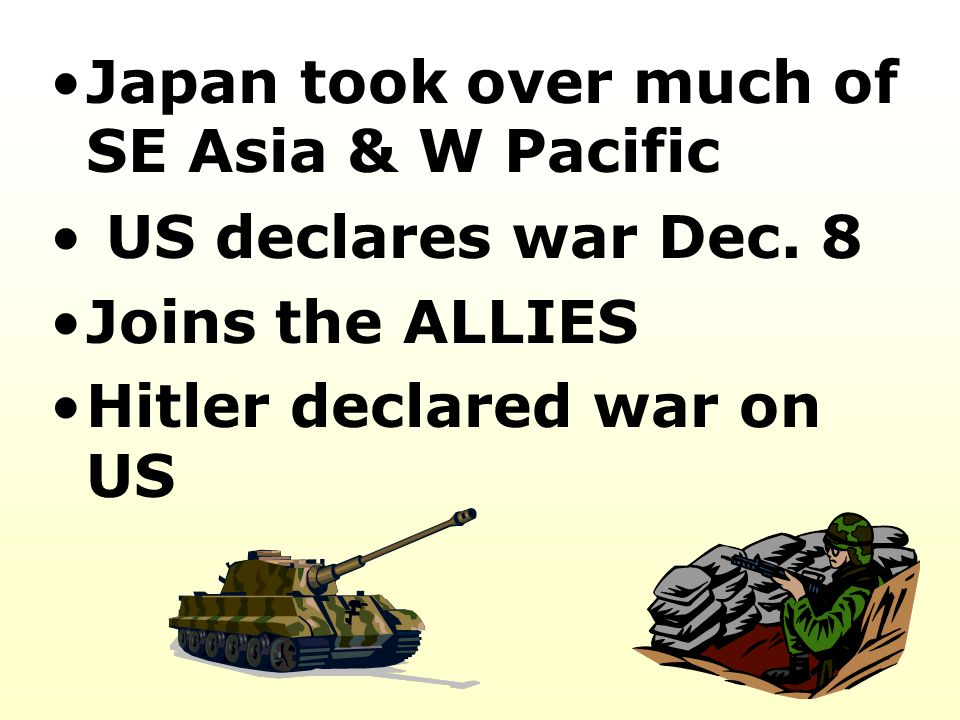 Japan took over much of SE Asia & W Pacific