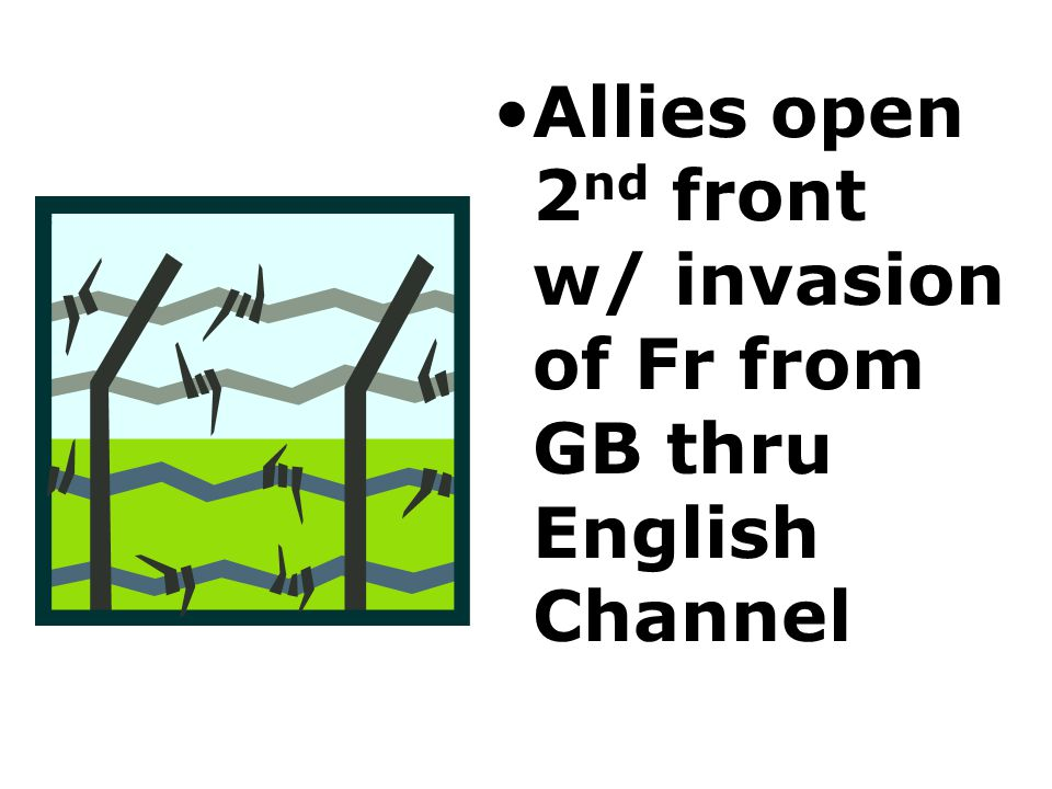 Allies open 2nd front w/ invasion of Fr from GB thru English Channel