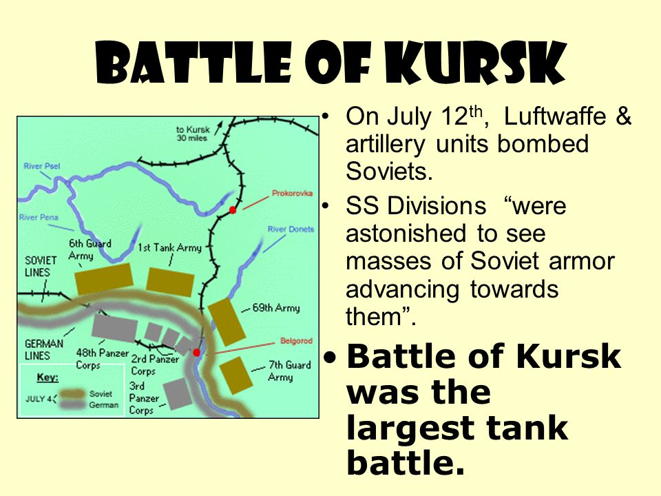 BATTLE OF KURSK Battle of Kursk was the largest tank battle.